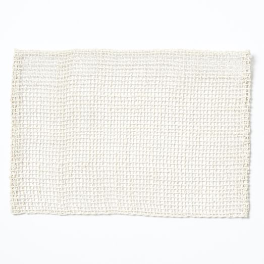 Fishnet Woven Placemats, Set of 2, White
