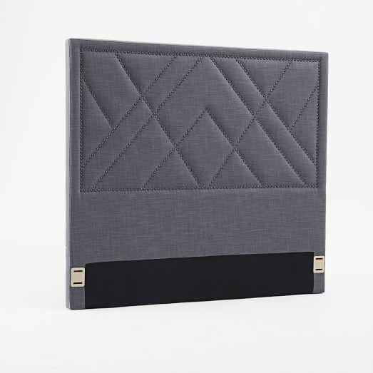 Patterned Nailhead Upholstered Headboard - Full, Steel Gray