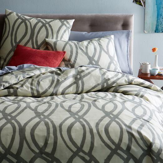 Organic Paint Swirl Duvet, Twin, Feather Gray