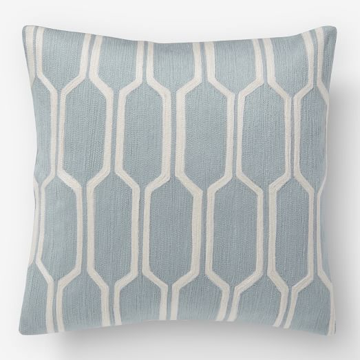 Honeycomb Crewel Pillow Cover, Dusty Blue, 18
