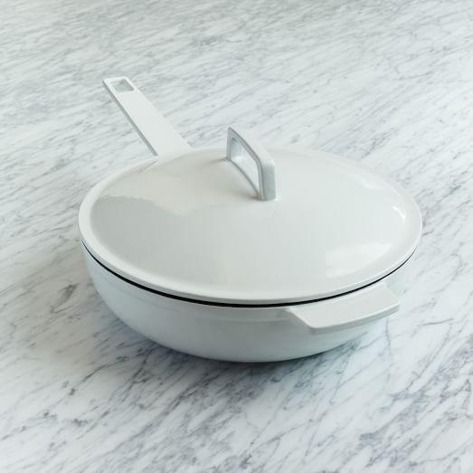 Enamel Cast Iron Cookware, Deep Saute Pan, White