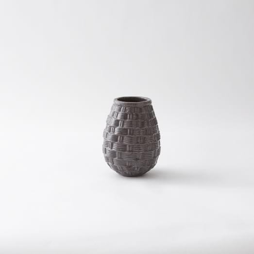 Ceramic Woven Vase, Small, Basket Weave, Gray