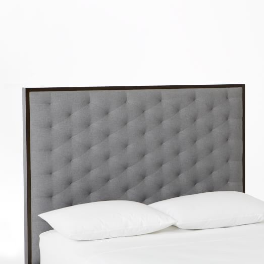 Tilden Headboard, Twin, Poly Fill, Brushed Heathered Cotton, Gray Haze, Chocolate