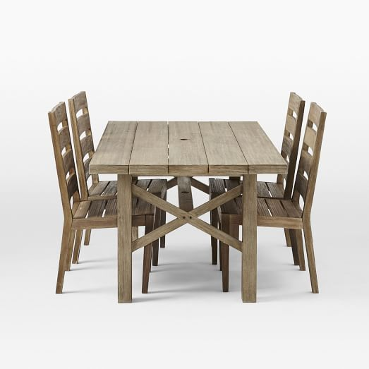 Jardine Expandable Dining Table + 4 Chairs, Driftwood
