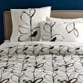 Organic Charcoal Leaf Duvet Cover, Twin, Stone White/Iron