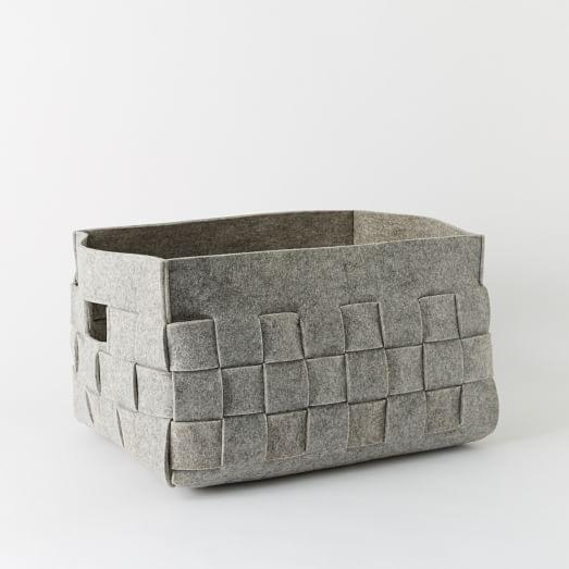 Woven Felt Basket, Extra Large, Gray