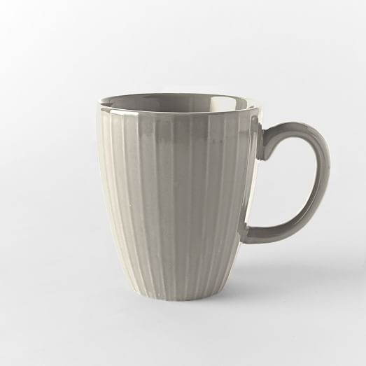 Textured Dinnerware, Mug, Set of 4, Gray, Lines
