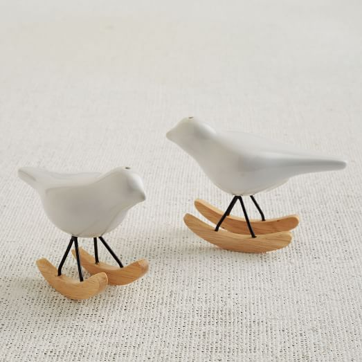 Rocking Bird Salt + Pepper Shakers, White