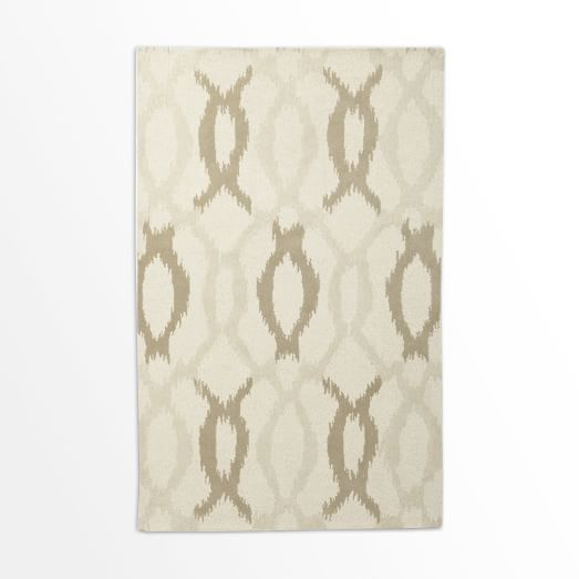 Ikat Links Rug, Ivory, 5'x8'