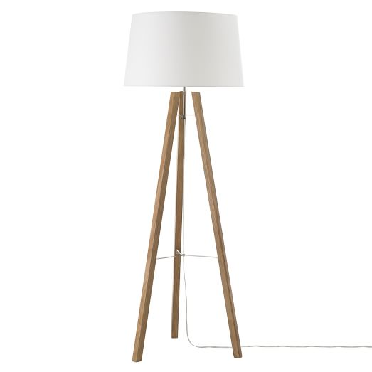 Tripod Wood Floor Lamp Natural/White