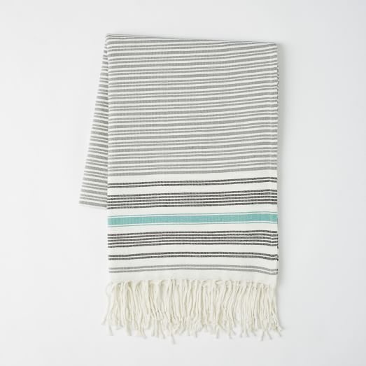 Tassled Picnic Blanket, Feather Gray