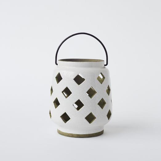 Cutout Ceramic Hurricane, White, Small