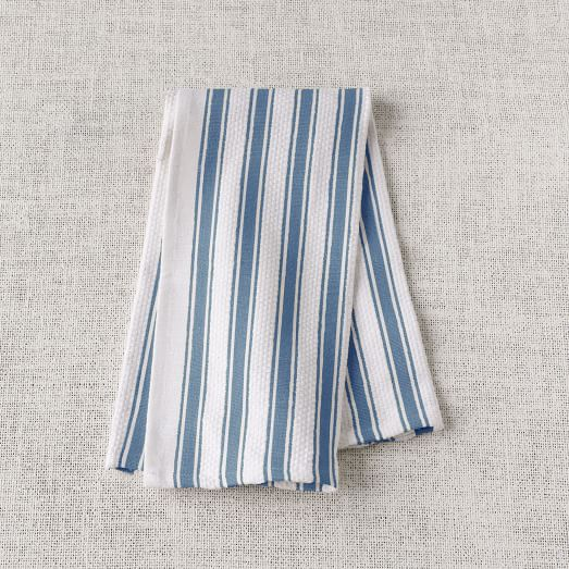 Chunky Stripe Kitchen Towel, Blue/White