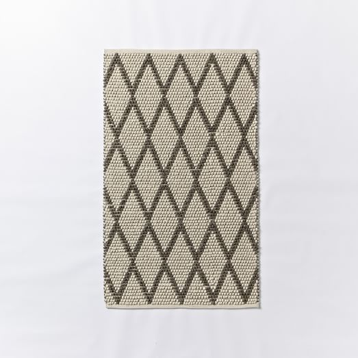 Knotted Diamonds Wool Rug, 3'x5', Ivory/Feather Gray