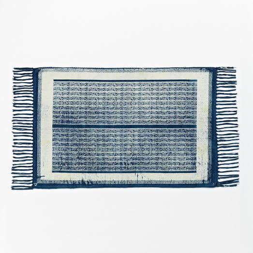 Rail Cotton Dhurrie, 2'x3', Indigo