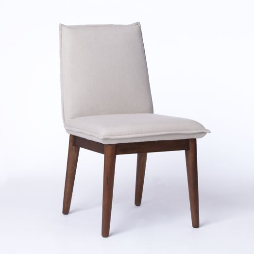 Holly Dining Chair, Poly Fill, Brushed Heathered Cotton, Flax Pecan