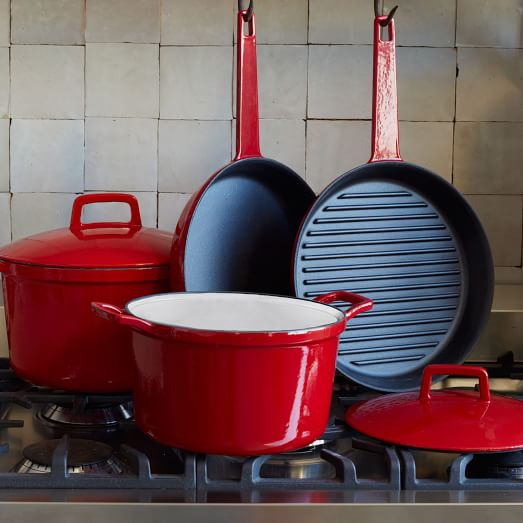 Cast Iron Cookware, 6Pc Set, Red Exterior/Cream Interior