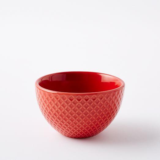 Textured Dip Bowl, Rose Bisque, Grid