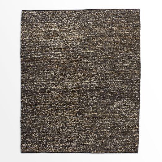 Mini Pebble Jute Wool Rug, 9'x12', Natural/Slate