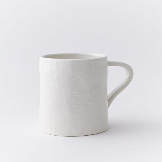Linen Textured Mugs, Set of 4, White
