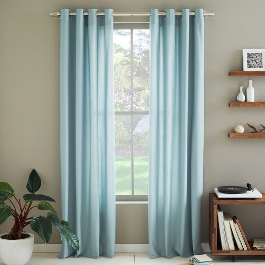 Cotton Canvas Grommet Curtain, 48