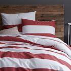 Stripe Duvet , White Ground/Lotus Pink Stripe, Twin