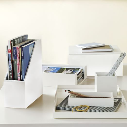 Lacquer Office Accessories Set, White