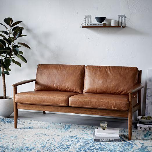 Mathias Mid-Century Wood Frame Leather Sofa  west elm