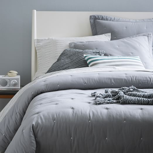 Light + Lofty Quilt, Twin, Feather Gray with Stone White Triangle
