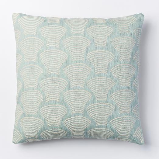 Crewel Deco Shells Pillow Cover Pale Harbor West Elm