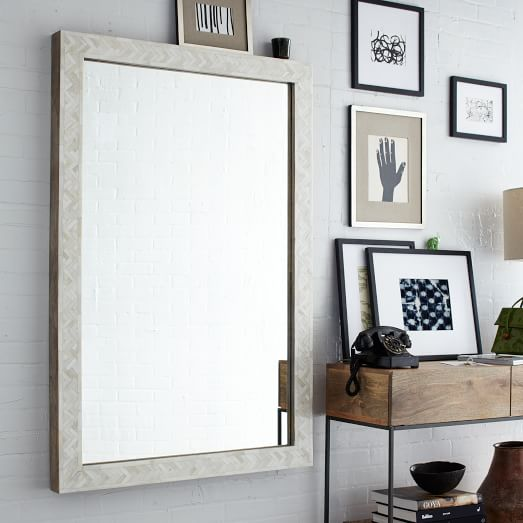 parsons large wall mirror bone inlay west elm. Black Bedroom Furniture Sets. Home Design Ideas