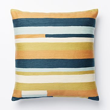 Modern Crewel Pillow : Crewel Modern Stripes Pillow Cover - Pale Harbor west elm