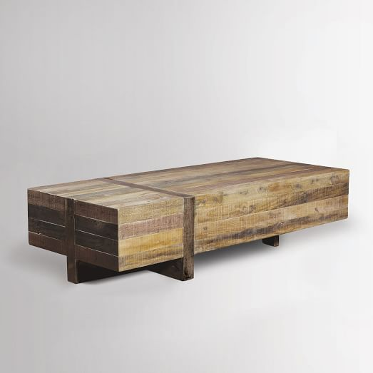 Emmerson reclaimed wood block coffee table west elm for Reclaimed coffee table