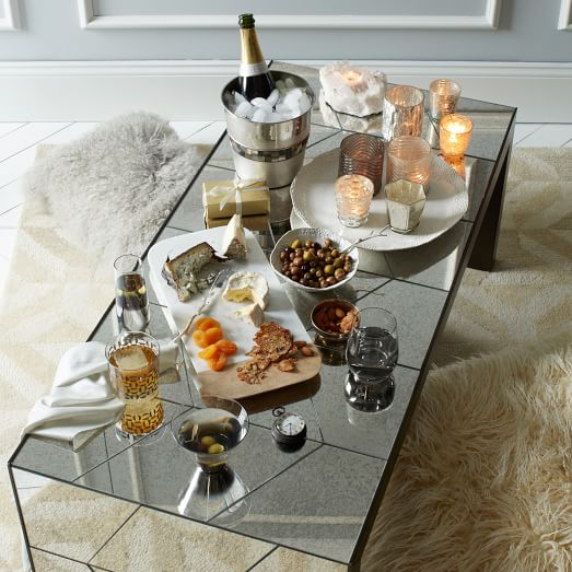 Herringbone mirror coffee table west elm for West elm coffee table sale