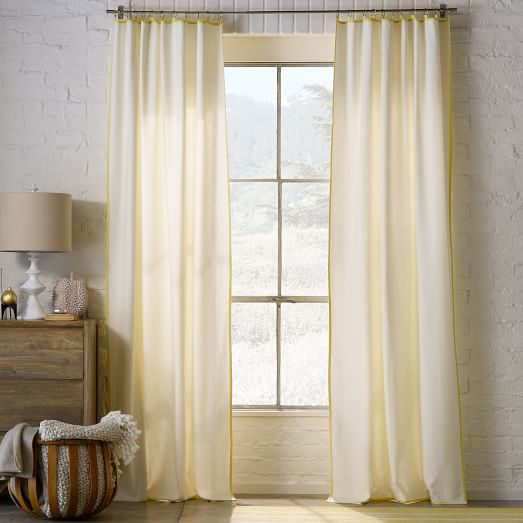 Narrow Frame Curtain Ivory Citron West Elm