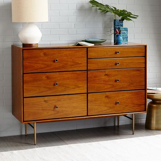 Heston Mid Century 7 Drawer Dresser Walnut West Elm