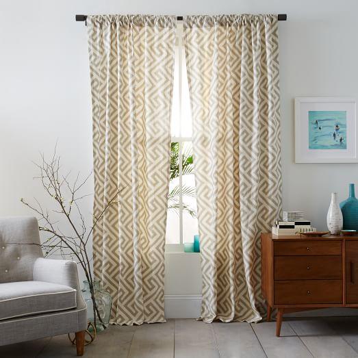 Cotton Canvas Ikat Key Curtain Flax West Elm