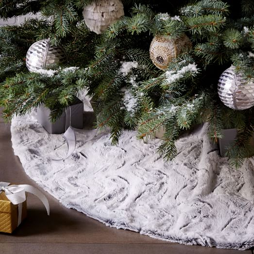 Faux Fur Tree Skirt Stone White Swirl West Elm