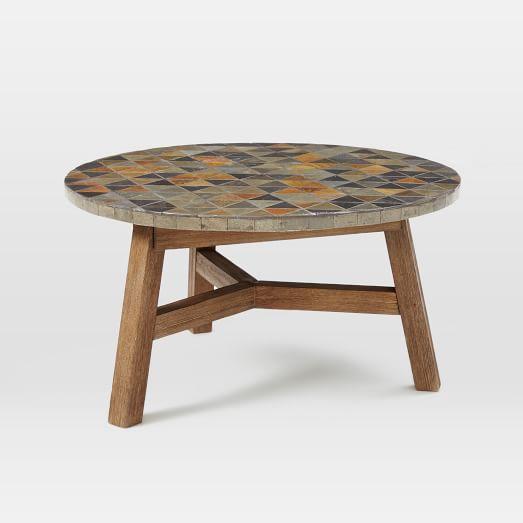 Slate And Glass Coffee Table For Sale: Mosaic Tiled Coffee Table - Slate Top