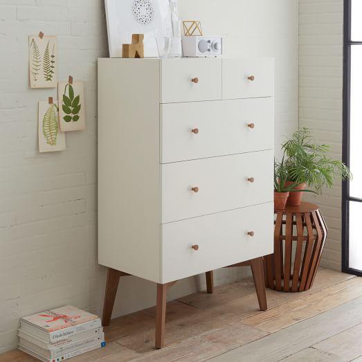 Tall Storage 5 Drawer Dresser White West Elm
