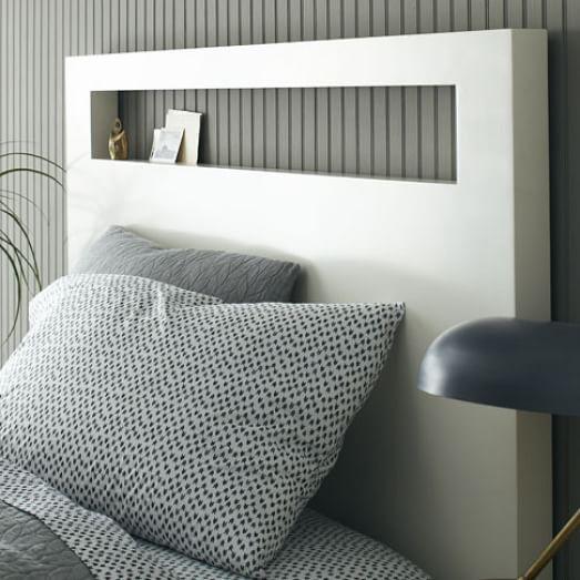 Tall Wood Cutout Headboard White