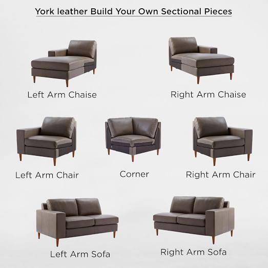 Build Your Own York Leather Sectional Pieces West Elm