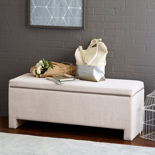 Stylish End Of Bed Bench Storage Seating Bedroom Benches: Nailhead Upholstered Storage Bench