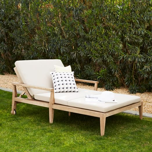 outdoor double lounger cushions west elm. Black Bedroom Furniture Sets. Home Design Ideas