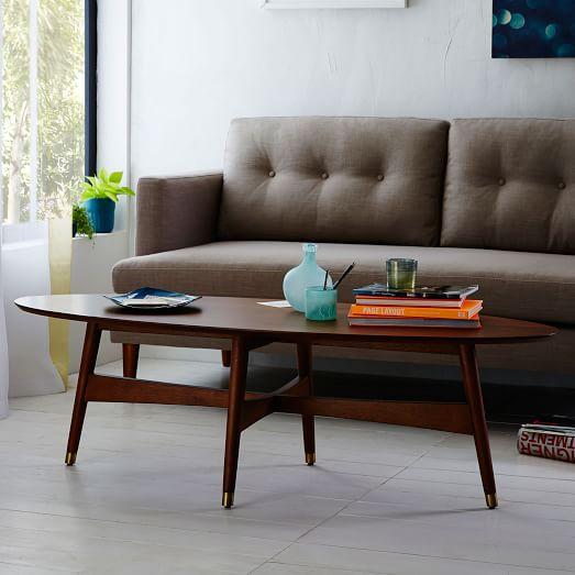 Reeve Mid-Century Oval Coffee Table - Pecan