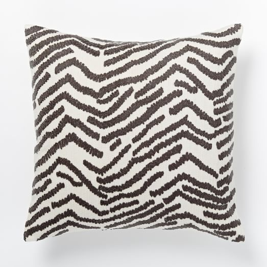 Tiger Crewel Pillow Cover - Slate/Ivory