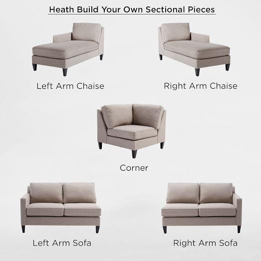 build your own heath sectional pieces west elm. Black Bedroom Furniture Sets. Home Design Ideas