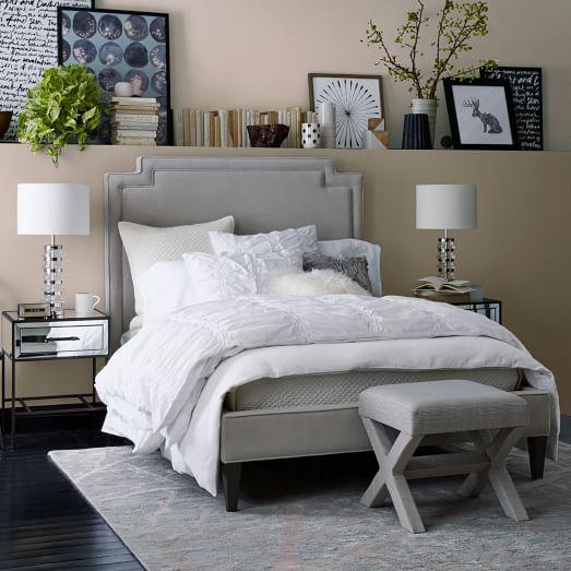 Harlow upholstered bed performance velvet west elm for Harlowe bed