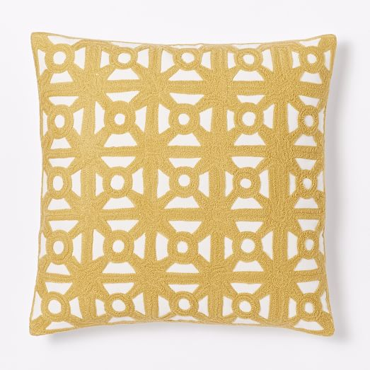 Modern Crewel Pillow : Modern Crewel Lattice Pillow Cover - Horseradish west elm