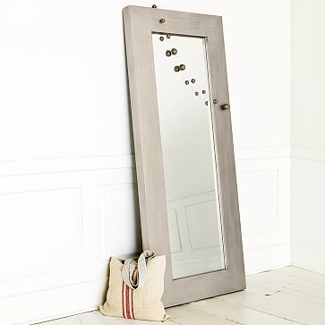 chunky wood floor mirror silver west elm. Black Bedroom Furniture Sets. Home Design Ideas